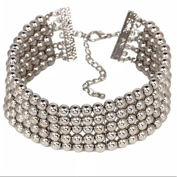 Jewelry - Silver Beaded Chocker Collar Necklace P3
